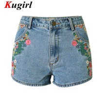 Embroidery flowers Short Pants Bohemian jeans Shorts for women high waist jeans Shorts woman denim pants Short jean