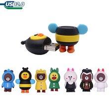 100% Real capcity pen drive cartoon animals usb flash drive 4GB 8GB 16GB 32GB 64GB 128GB cute bear creative pdn drive usb stick