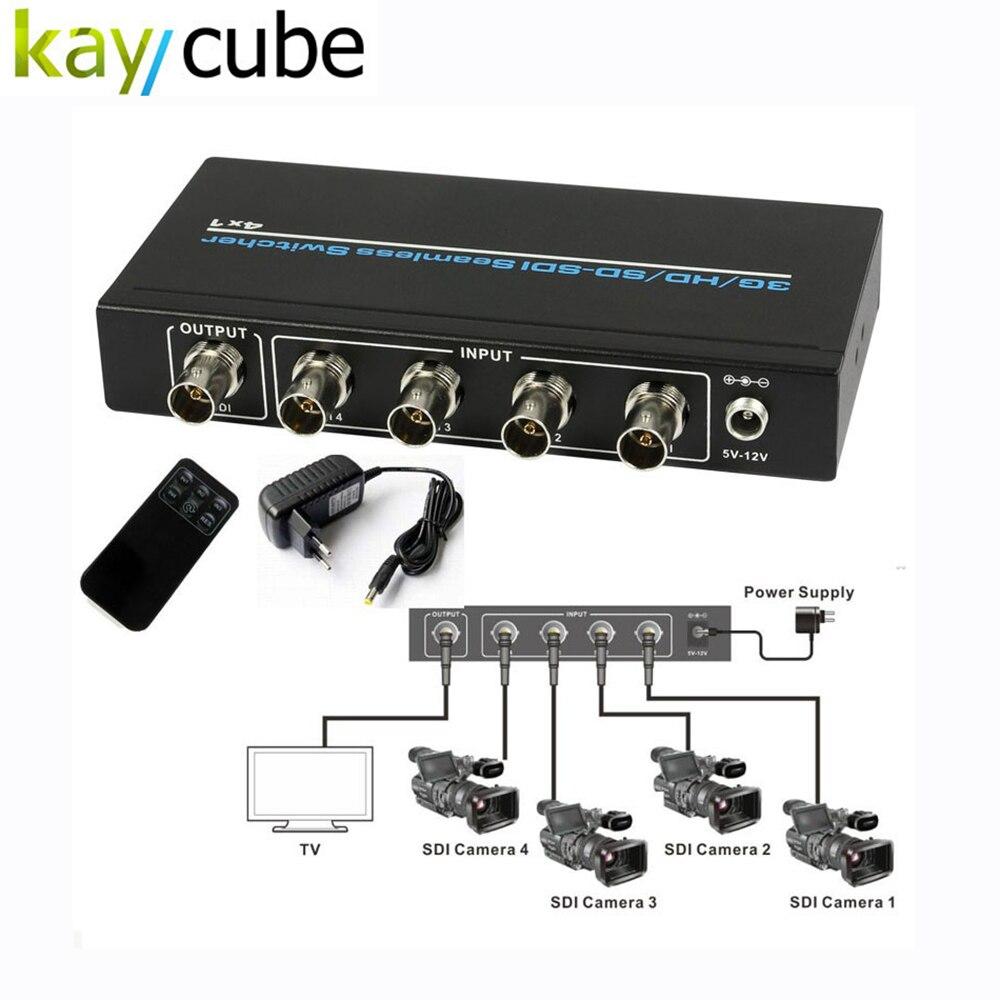 Kaycube SD-SDI/HD-SDI/3G-SDI 4 X 1 Switcher Converter 4 SDI Input Serial Digital Video Signal Seamless Switch 1080P + IR Remote