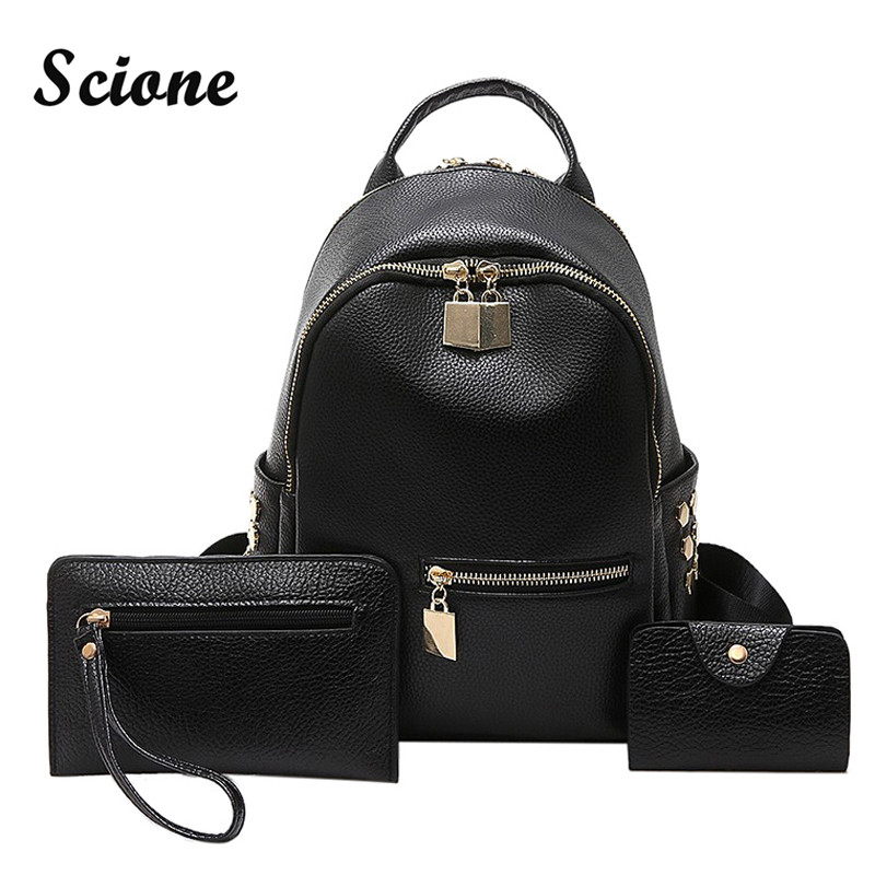Scione Black PU Leather Rivet Backpack Women Small Travel Backpacks Set Brand Solid Color Back Pack