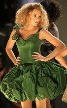 2016 Sexy Blake Lively Gossip Girl Promi Brautkleider A-linie Dunkelgrün V-ausschnitt Satin Mini Kurze Cocktail Party Kleider Vestido