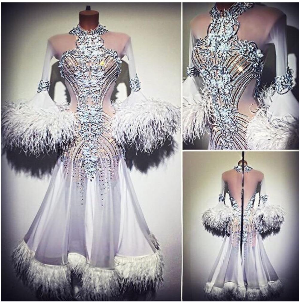 Blanc moderne robe de danse Moderne Valse Standaard Concurrentie Strass Jurk.. sociale de danse robe