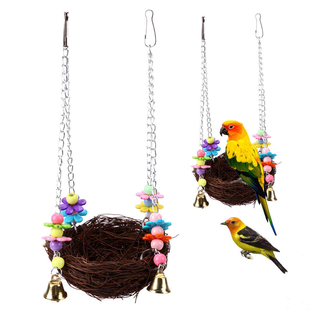 Parrot Hanging Rest Nest Basket Cage Birds Toy With Bell Bite Pet Cockatiel Parakeet Funny Stand Rest Perch Swing