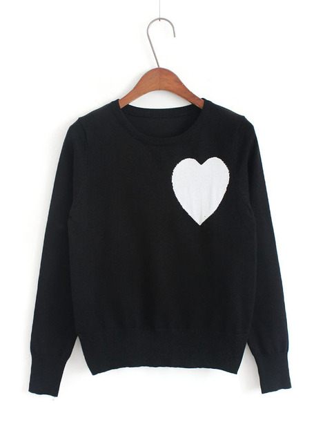 Womens Sweaters Fashion 2017 Autumn Winter Korean Style Vintage Heart  Pattern Knitted Sweater Pullover Sueter Pull Femme 2128 559f23cf1d45