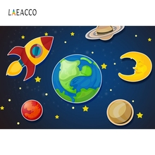 Laeacco Cartoon Spaceship Boy Birthday Party Photography Backgrounds Customized Photographic Backdrops For Photo Studio