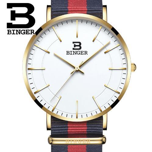 Switzerland Original New Top famous brand Binger Fashion Men Women Dress Quartz watches Genuine Leather ultra thin watch цены онлайн