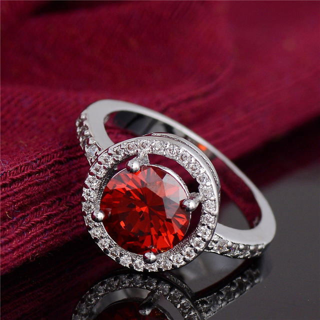 H:HYDE Noble design Jewelry Red Cubic Zirconia CZ stone Jewelry Silver Color Wed