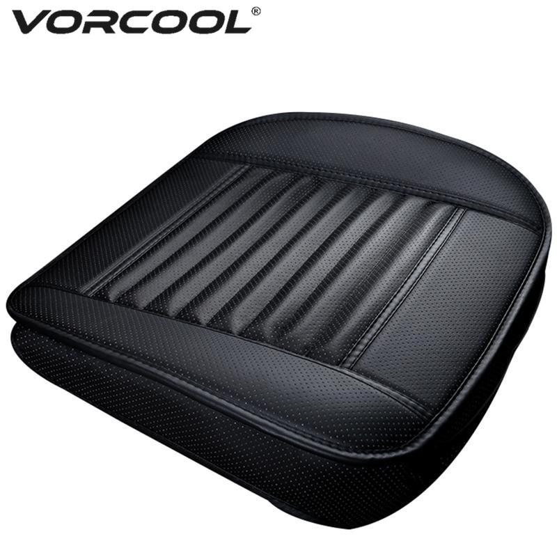 VORCOOL 1pc אוטומטי הקדמי המושב כיסוי פו עור פחם במבוק רכב סיאט כרית Pad 4 צבע מכוניות רכב המושב מגן כיסוי