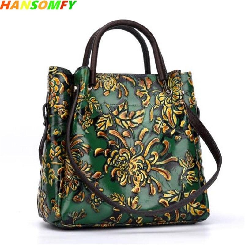 Vintage hand-brushed flowers trend Leather women handbags embossed ladies oblique large-capacity fashion female shoulder bags