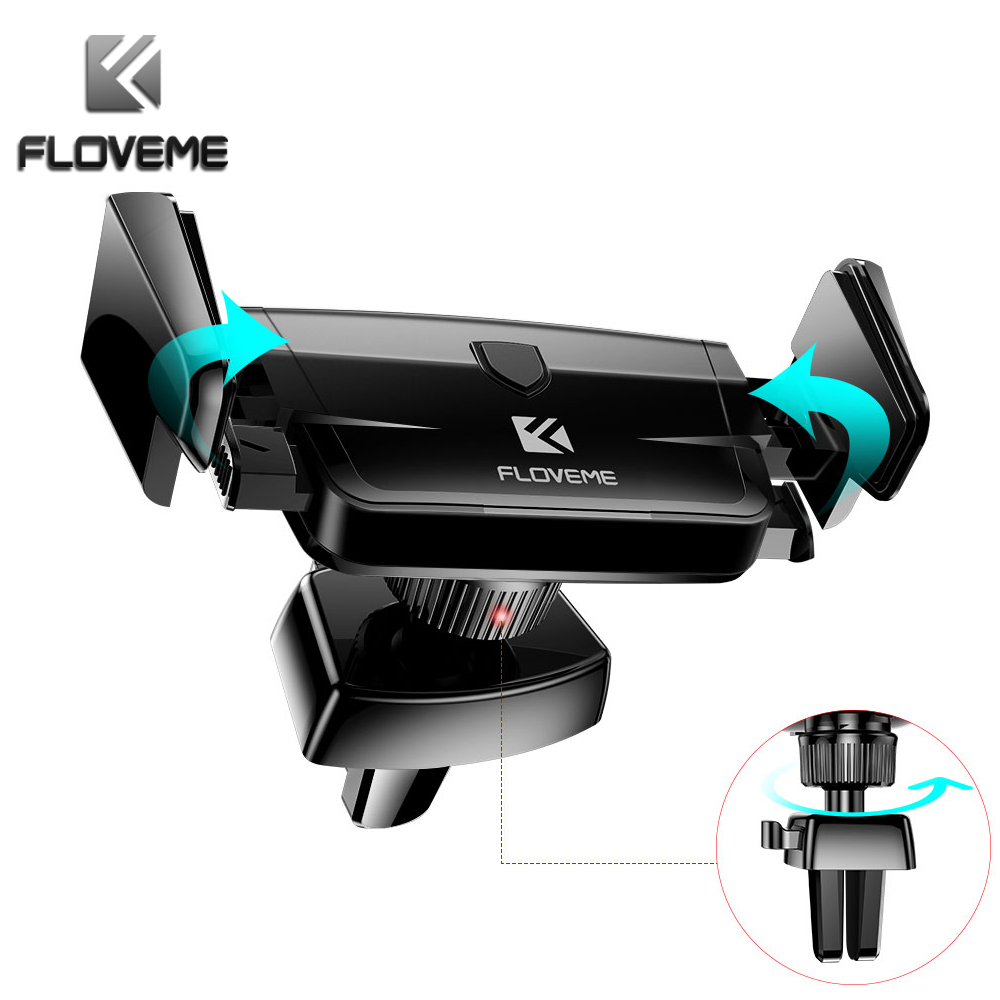 FLOVEME Air Vent Car Phone Holder For IPhone Samsung Huawei Xiaomi Auto Lock Car Phone Holder GPS Support Smartphone Voiture