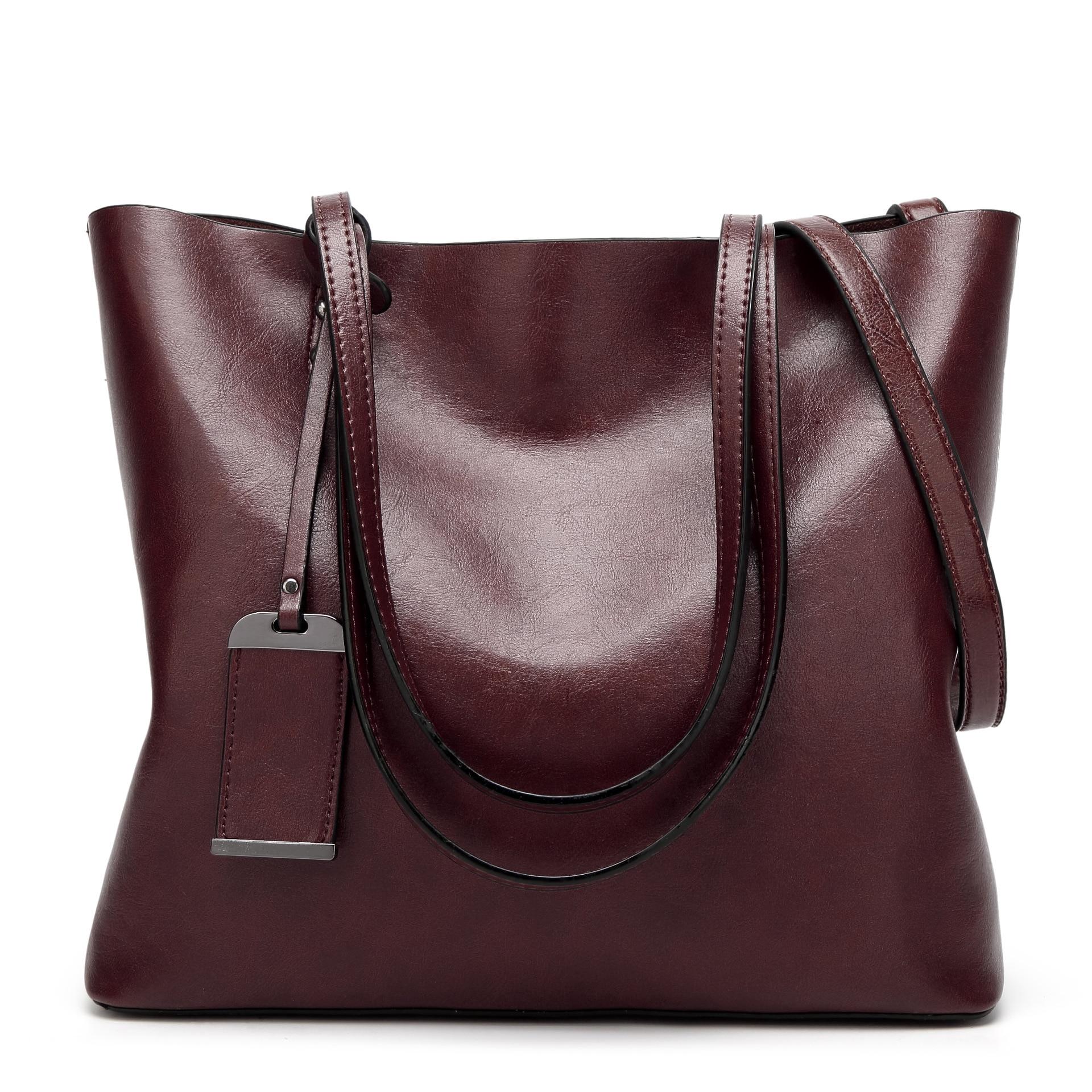 Image 4 - Высокое качество, хит продаж, женские повседневные сумки, масло, воск, кожа, женская сумка на плечо, дизайнерская женская винтажная сумка через плечо, большая C1079-in Сумки с ручками from Багаж и сумки