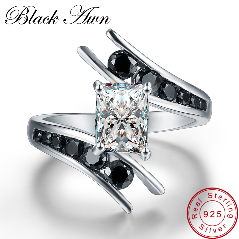 [BLACK AWN] Fine Jewelry 5.1 Gram 100% Genuine 925 Sterling Silver Row Black Stone Engagement Rings for Women Bague C299