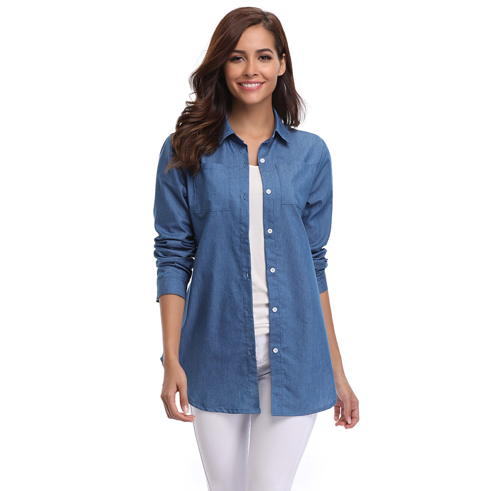 03b04ff721079 Casual Solid Denim Shirt Women Washed Rolled Long Sleeve Point Collar Button  Down Tops w 2 Chest Flap Packets Autumn And Winter-in Blouses   Shirts from  ...
