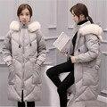 2016 Novas Mulheres Jaqueta de Inverno Longo Parka Pele Quente Fêmea colarinho Jaqueta de Algodão Com Capuz Para Baixo Tamanho Grande Casaco de Inverno Para Baixo A2169