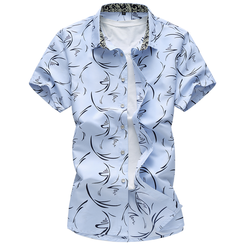 M-7XL  2019 Summer Men's Casual Large Size Trendy Suit Shirt, High-end Brand Quality Men's Short Sleeve Shirts  White, Navy Blue