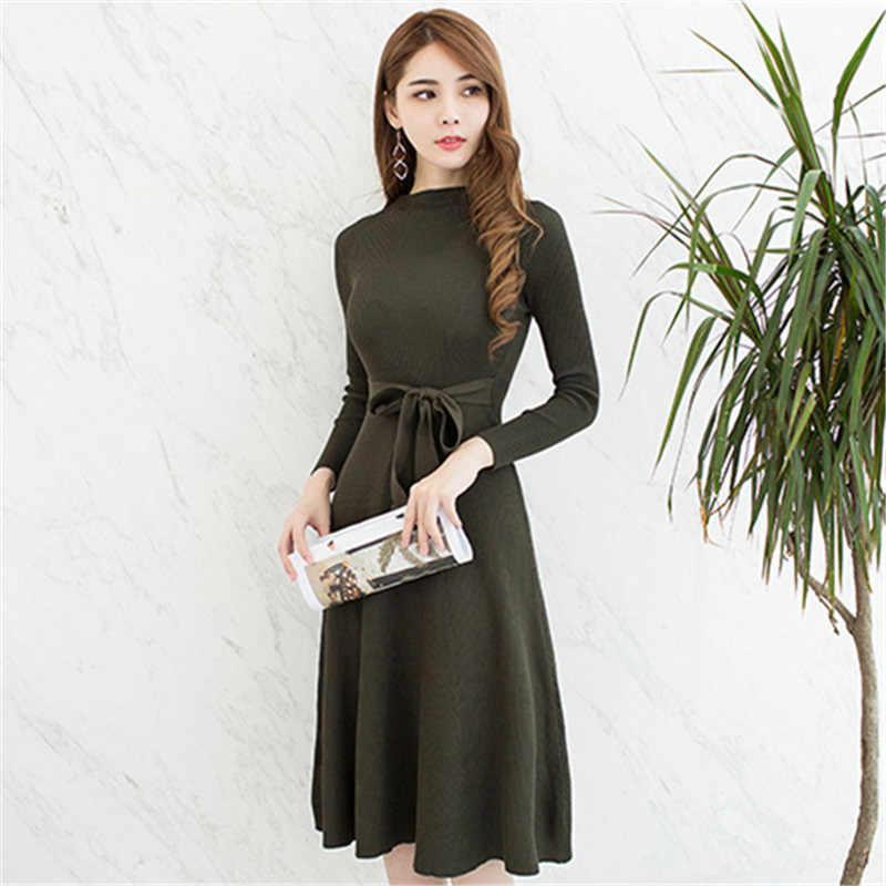 2018 الخريف الشتاء محبوك اللباس مثير Bodycon الأسود الأخضر مع الزنانير ضئيلة عارضة طويلة الأكمام عالية الخصر المرأة سترة فساتين