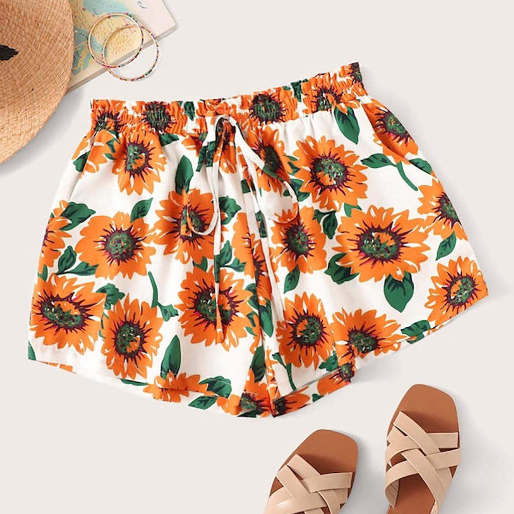 Pantalones Mujer Pantalon Femme Spodnie Damskie Women Sexy Sunflower Print High Waist Shorts Casual 2019 Shorts брюки женские Z4