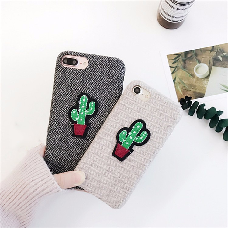 new styles 47221 19bc8 US $7.19  Fabric Surface Soft Touch Sewing Cute Cactus Phone Case for  iPhone 7 7plus 6 6s plus-in Fitted Cases from Cellphones &  Telecommunications on ...