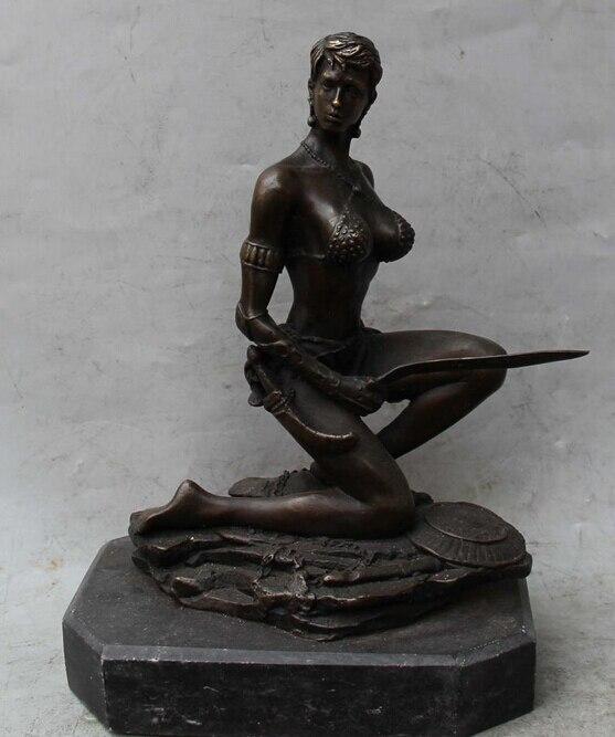 10China Western Bronze Marble Sexy Belle Girl Lady War Sword Warrior Art Statue R0711 B0403