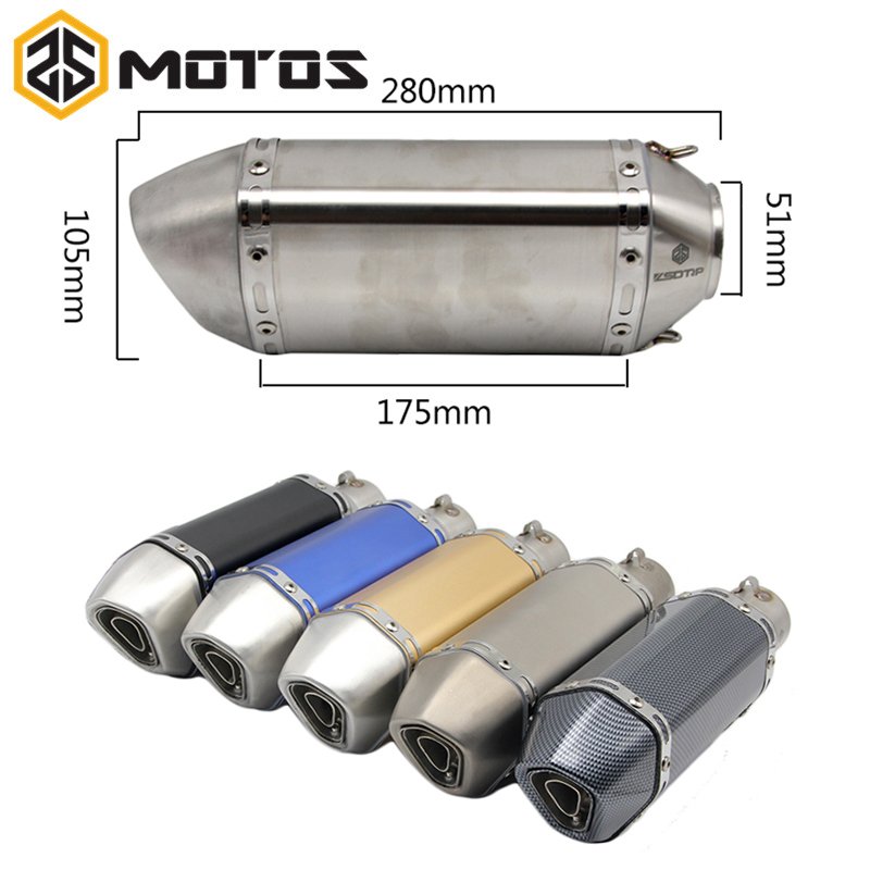ZS MOTOS 38-51mm Motorcycle Motocross Akrapovic Exhaust Pipe Muffler Escape Moto NINJA GSXR TAMX ER6N GY6 YZR R6 CBR125 CB400 modified akrapovic exhaust escape moto silencer 100cc 125cc 150cc gy6 scooter motorcycle cbr jog rsz dirt pit bike accessories