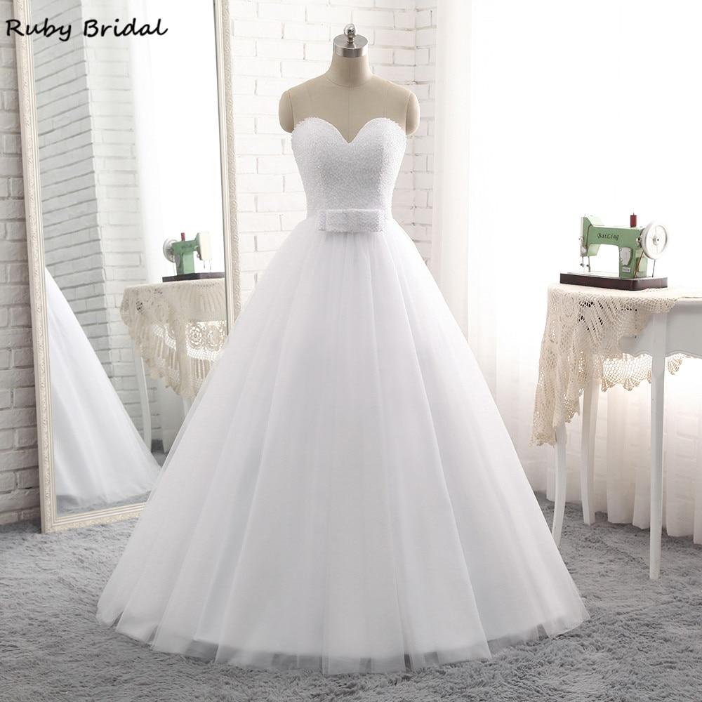 Ruby Bridal 2017 Elegant Vestido De Noiva Long Ball Gown Wedding Dresses Cheap White Tulle Beaded Strapless Bridal Gown PW70-in Wedding Dresses from Weddings & Events    1