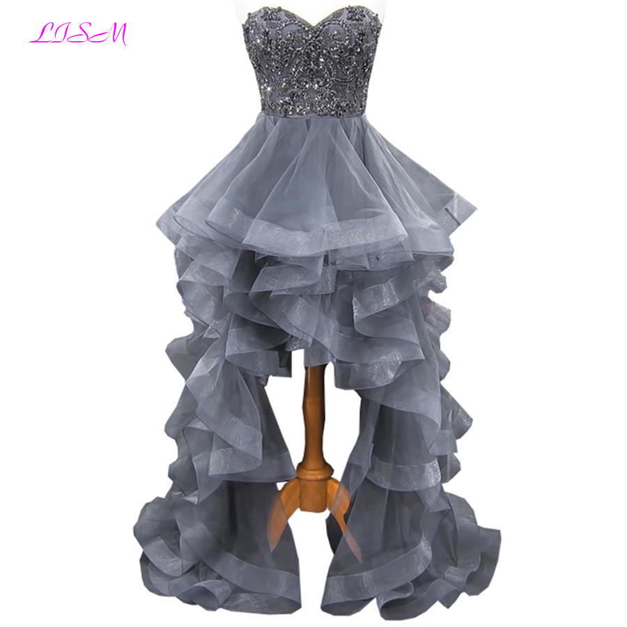 LISM High Low Organza Ball Gown Prom Dress Sweetheart Beaded Crystal Formal Gowns Long Zipper Back