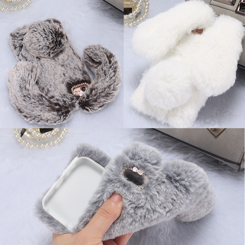 Fluffy Rabbit Fur Silicon Mobile Phone Cases For Apple iPhone SE iPhone 5SE iphone55s iPhone 5 5S 5G 55S Cases Covers Bags Back