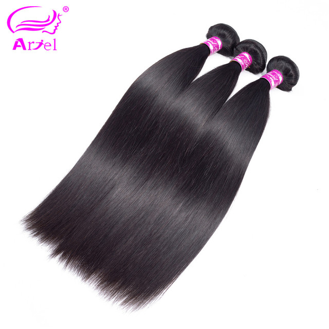 "Pelo de Ariel paquetes de pelo liso peruano 3 unids/lote Color Natural no Remy 8 ""-28"" 100% paquetes de extensiones de cabello humano"