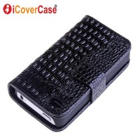 Croco Wallet Leather Case Cover For IPhone 4 4S With Black White Red