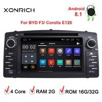2G Android 8,1 автомобильный dvd плеер с двумя цифровыми входами для Toyota corolla E120 BYD F3 corolla EX Мультимедиа GPS Радио Навигация экран Wi Fi стерео