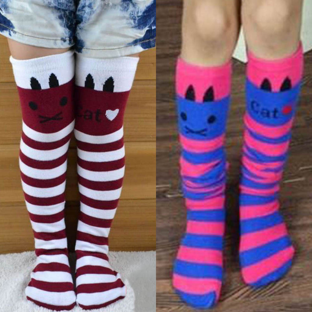 Cotton-Knee-High-Socks-Children-In-tube-Socks-Striped-knee-girls-Straight-Colorful-Socks-2