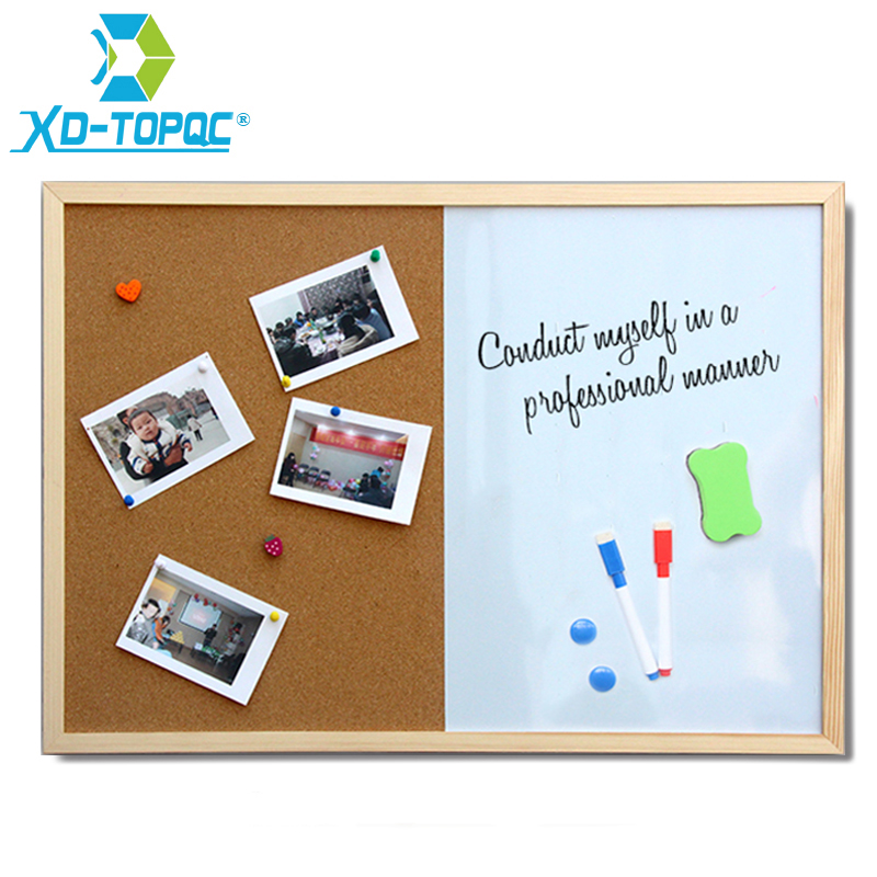 XINDI Message Cork Board Wood Frame Whiteboard Drawing Boards Combination 30*40cm Bulletin Magnetic Marker Board Free Shipping 1