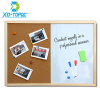 XINDI 2016 New Magnetic Board Wood Frame Whiteboard And Cork Board Combination 30 40cm Interactive Marker