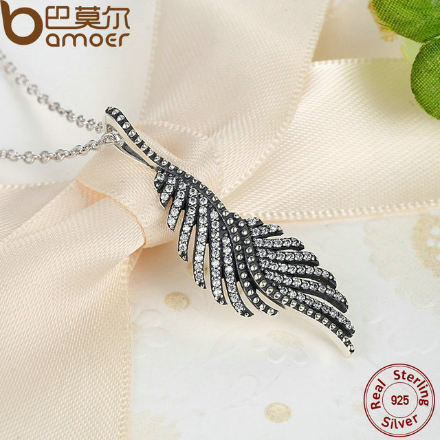 Sterling Silver Majestic Feathers Pendant Necklace