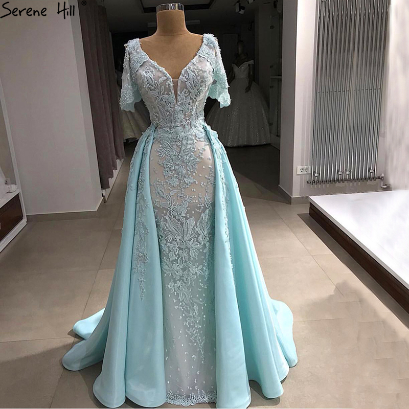 Mint V-Neck Vintage Short Sleeves   Evening     Dresses   2019 New Handmade Flowers With Train Formal   Evening   Gown LA6605