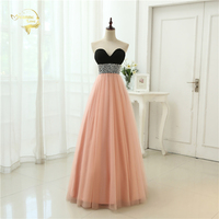 Sexy Low Cut Prom Gown Vestidos Sweetheart Beading Crystal Tulle Evening Gown A Line Formal Long Evening Dresses 2017 OL3356