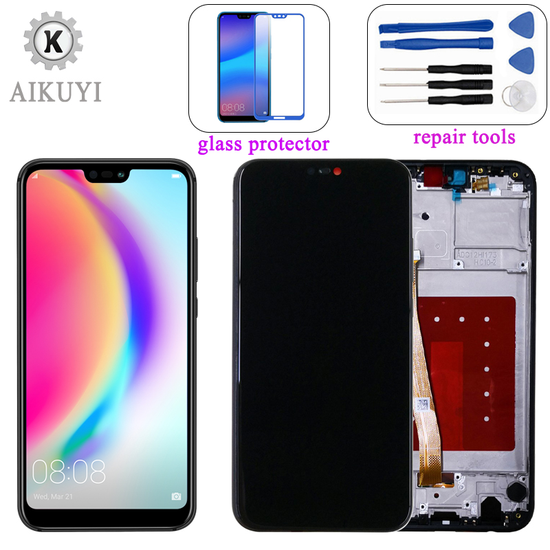 AIKUYI Original LCD For Huawei P20 Lite LCD Display Touch Screen Digitizer LCD ANE LX1 LX3 L23 with Frame for Huawei Nova 3e