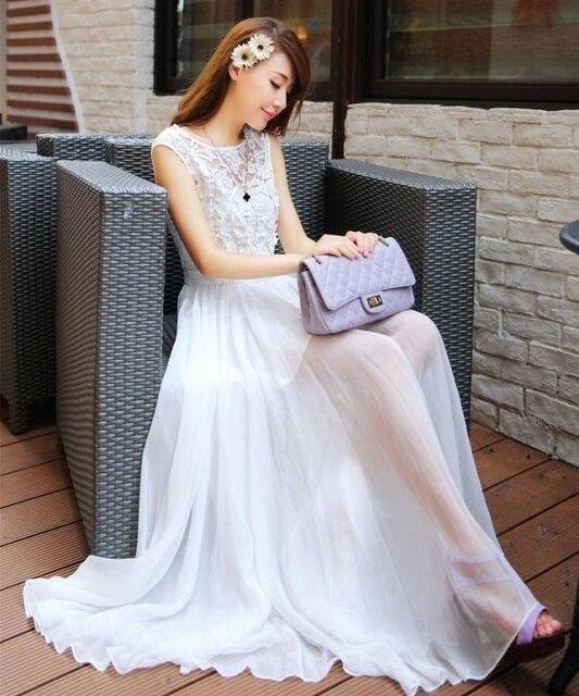 2314a354d29 Плюс большие размеры женская одежда платье 2017 Летний стиль Корейский  Чешский белое кружевное шифоновое платье выдалбливать