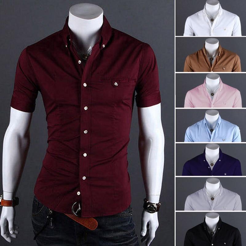 099658aa8f85 Men Shirt Luxury Brand 2017 Male Short Sleeve Shirts Casual Metal Buckle  Hit Color Slim Fit Black Dress Shirts Mens Hawaiian 3XL