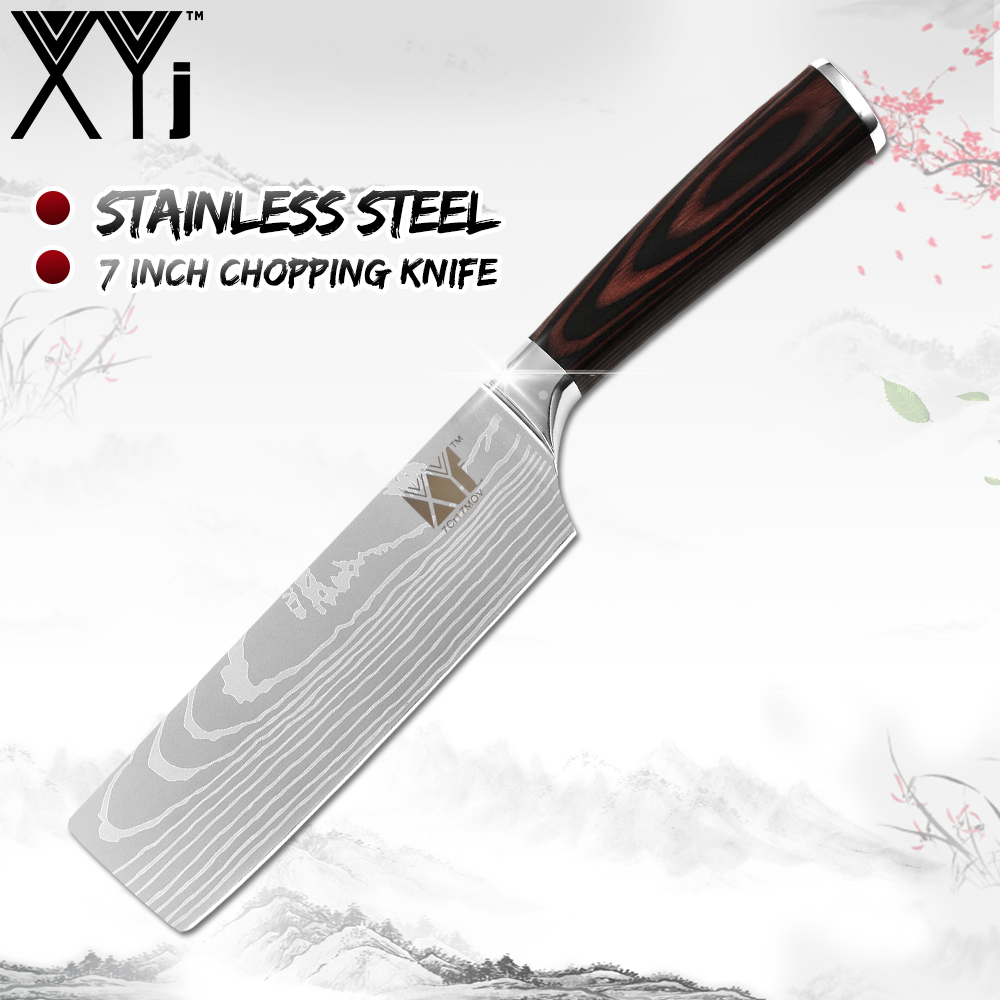 XYj Japanese Stainless Steel Kitchen Knife Chopping Knife Non stick Nakiri Damascus Veins Pattern Meat Cleaver
