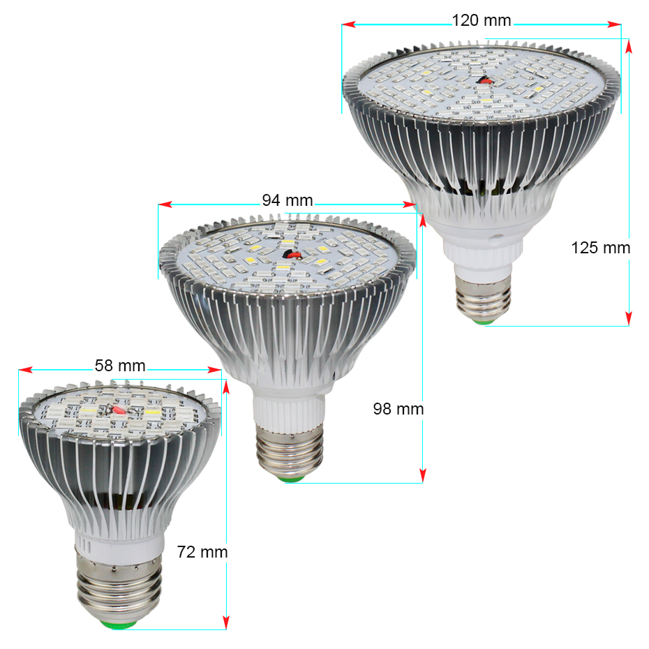 Growing Lamps plant grow light 30w 50w 80w led grow light e27 fitolampy for plant 700 1000 1500lm for hydroponics Plants