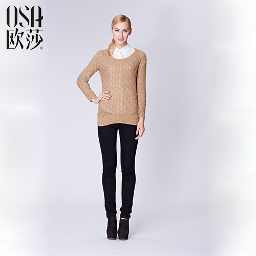 OSA 2015 Winter Hollow Casual pullovers Autumn women damen sweaters Brief Slim Full Sleeve O-neck Solid knitwear SE429024 - Overseas Store store