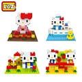 LOZ Diamond Building Blocks Hello Kitty 4 Estilo Escenario Modelo Niños Juguetes de Navidad Regalo Caja Original