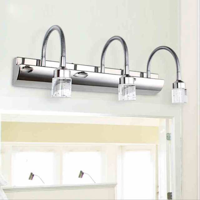 Crystal Bathroom Light Fixtures Stainless Steel Led Bath Vanity Wall ...