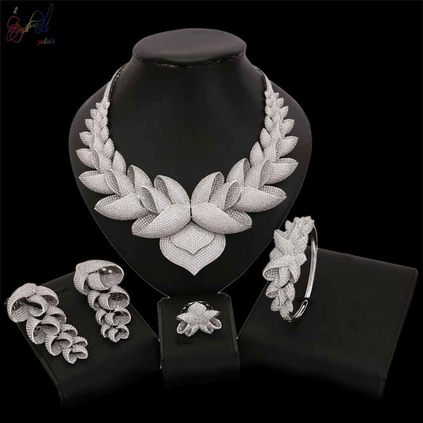 Yulaili Elegance New Fashionable Clear Color Cubic Zirconia Jewelry Set For Women Wedding Party