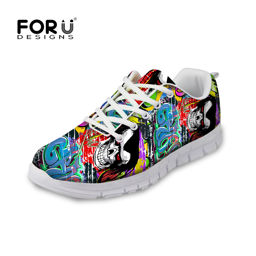 Forudesigns primavera otoño calzado para mujer graffiti patrón malla ...