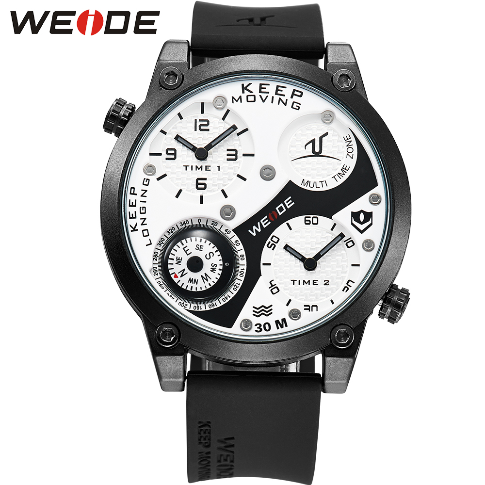 WEIDE Fashion Casual Brand Black Silicone Big Dial Waterproof Sport Watches for Men Japan Movt Quartz Watch Relogios Masculinos