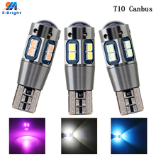 50pcs DC 12V Canbus W5W 194 T10 3030 10SMD LED No error Aluminum Car Clearance Dome License Lights White Ice Blue Red Amber Pink