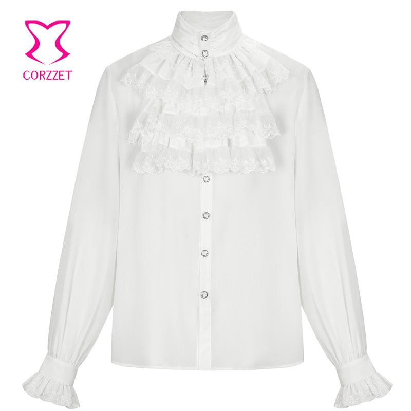 Victorian White Stand Collar Long Sleeves Mens Shirt Steampunk Tops Medieval Cosplay Costumes Vintage Plus Size Gothic Clothing