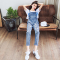 Discount Summer female Fashion Casual Denim Jumpsuit Skinny Jean Overalls Ripped Vintage Bib Pants